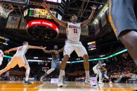 March 5, 2016: Sebastian Saiz #11 of the Mississippi Rebels defends the inbound pass during the NCAA basketball game between the University of Tennessee Volunteers and the Ole Miss Rebels at Thompson Boling Arena in Knoxville TN Tim Gangloff/CSM(Credit Image: © Tim Gangloff/CSM via ZUMA Wire)
