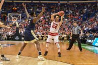March 18, 2016 - St. Louis, Missouri, U.S - Wisconsin Badger guard BRONSON KOENIG (24) looks to make a pass past the defense of Pittsburgh Panthers forward JAMEL ARTIS (1) during the first round of the East Region in the 2016 NCAA Men's Basketball Tournament, where #7 Wisconsin defeated #10 Pittsburgh 47-43, held at The Scottrade Center in St. Louis, MO (Credit Image: © Richard Ulreich via ZUMA Wire)