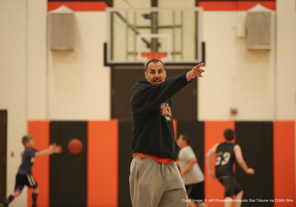 April 6, 2016 - St. Paul, MN, U.S. - First-year football coach Arnulfo Flores is a key figure in the effort to revitalize varsity sports at Humboldt High School in St. Paul, his alma mater. He led a basketball practice for young kids in the high school gym. ]  JEFF WHEELER • jeff.wheeler@startribune.com   First-year football coach Arnulfo Flores is a key figure in the effort to revitalize varsity sports at Humboldt. He is among the coaches hired from the community in an effort to stem the decline in participation. He was photographed before coaching some young kids in basketball fundamentals in the Humboldt High School gym Wednesday afternoon, April 6, 2016 in St. Paul.First-year football coach Arnulfo Flores is a key figure in the effort to revitalize varsity sports at Humboldt, his alma mater.  ]  JEFF WHEELER • jeff.wheeler@startribune.com   First-year football coach Arnulfo Flores is a key figure in the effort to revitalize varsity sports at Humboldt. He is among the coaches hired from the community in an effort to stem the decline in participation. He was photographed before coaching some young kids in basketball fundamentals in the Humboldt High School gym Wednesday afternoon, April 6, 2016 in St. Paul. (Credit Image: � Jeff Wheeler/Minneapolis Star Tribune via ZUMA Wire)