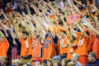 The Virginia Cavaliers student fan section during the NCAA Basketball game between the Villanova Wildcats and the Virginia Cavaliers at the John Paul Jones Arena on December 19, 2015 in Charlottesville, VA. Jacob Kupferman/CSM(Credit Image: � Jacob Kupferman/Cal Sport Media)