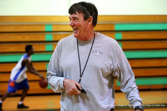 Feb. 18, 2016 - Seminole, Florida, U.S. - DOUGLAS R. CLIFFORD   |   Times.Largo varsity basketball coach Phil Price organizes a team practice on Thursday (2/18/16) at Seminole High School. (Credit Image: © Douglas R. Clifford/Tampa Bay Times via ZUMA Wire)