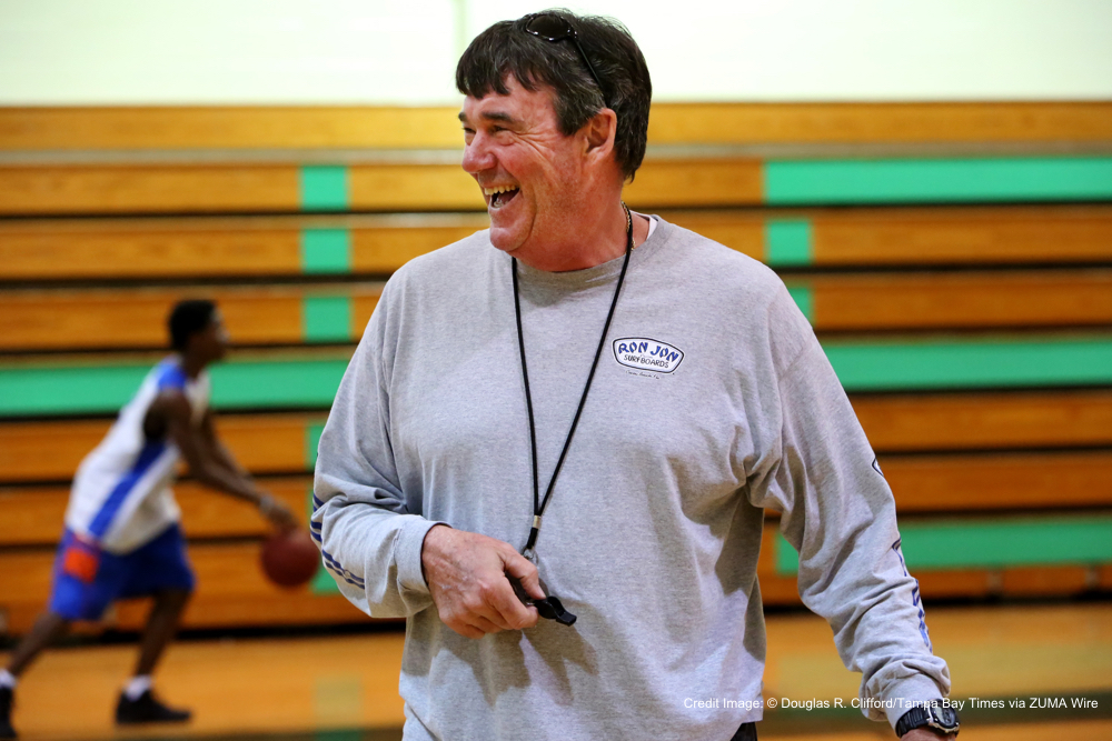 Feb. 18, 2016 - Seminole, Florida, U.S. - DOUGLAS R. CLIFFORD   |   Times.Largo varsity basketball coach Phil Price organizes a team practice on Thursday (2/18/16) at Seminole High School. (Credit Image: © Douglas R. Clifford/Tampa Bay Times via ZUMA Wire)