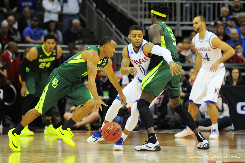 March11,2016:Baylor Bears guard Lester Medford (11) runs Kansas Jayhawks guard Frank Mason III (0) into a screen set by Baylor Bears forward Johnathan Motley (5) during the NCAA Big 12 Championship Men's Basketball semi-final game between the Baylor Bears and the Kansas Jayhawks at the Sprint Center in Kansas City, Missouri. Kendall Shaw/CSM(Credit Image: © Kendall Shaw/CSM via ZUMA Wire)