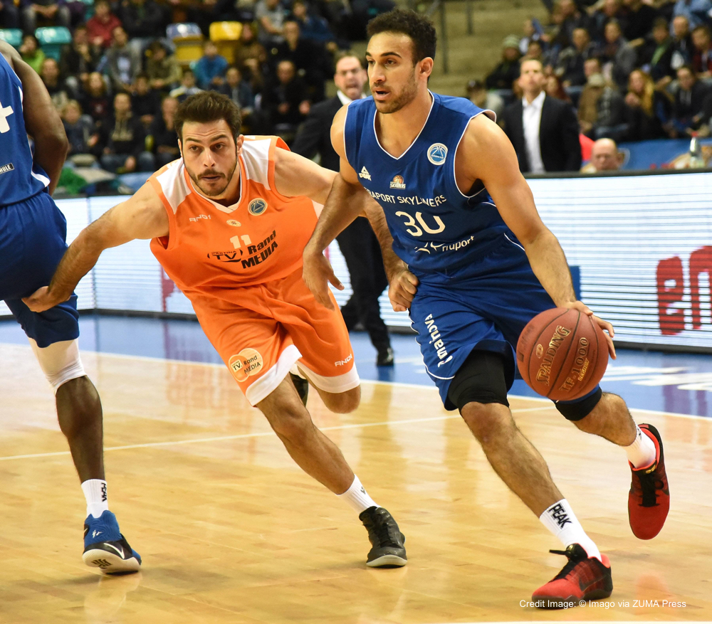 March 31, 2016 - March 31, 2016 - 31.03.2016, xblx, Basketball FIBA Europe Cup, Fraport Skyliners - Maccabi Rand Media Rishon, emspor, v.l. Avi Ben Chimol (Maccabi Rishon Le Zion), Philip Scrubb (Fraport Skyliners Frankfurt)....31 03 2016 xblx Basketball FIBA Europe Cup Fraport Skyliners Maccabi Edge Media Rishon emspor v l Avi Ben Chimol Maccabi Rishon Le Zion Philip SCRUBB Fraport Skyliners Frankfurt (Credit Image: � Imago via ZUMA Press)