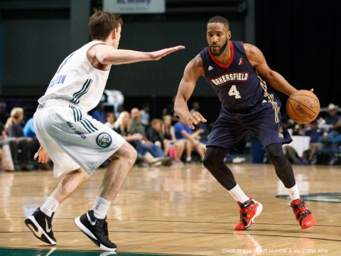 April 1, 2016 - Reno, Nevada, U.S - Bakersfield Jam Guard DEONTE BURTON (4) begins his drive against Reno Bighorn Guard DAVID STOCKTON (7) during the NBA D-League Basketball game between the Reno Bighorns and the Bakersfield Jam at the Reno Events Center in Reno, Nevada. (Credit Image: � Jeff Mulvihill Jr via ZUMA Wire)