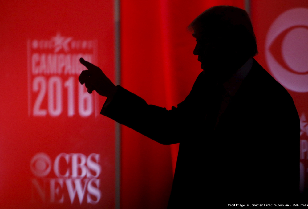 May 2, 2016 - Greenville, SC, United States - Republican U.S. presidential candidate businessman Donald Trump speaks to someone offstage during a commercial break at the Republican U.S. presidential candidates debate sponsored by CBS News and the Republican National Committee in Greenville, South Carolina February 13, 2016 (Credit Image: � Jonathan Ernst/Reuters via ZUMA Press)