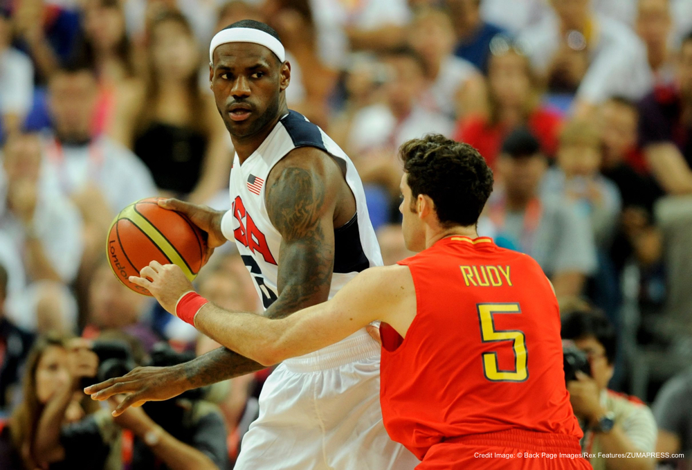 Aug. 12, 2012 - Lebron James of USA and Rudy Fernandez of Spain..The 2012 London Olympic Games, Spain v USA, Men's Basketball final, London, Britain - 12 Aug 2012..USA defeated Spain 107-100. (Credit Image: � Back Page Images/Rex Features/ZUMAPRESS.com)