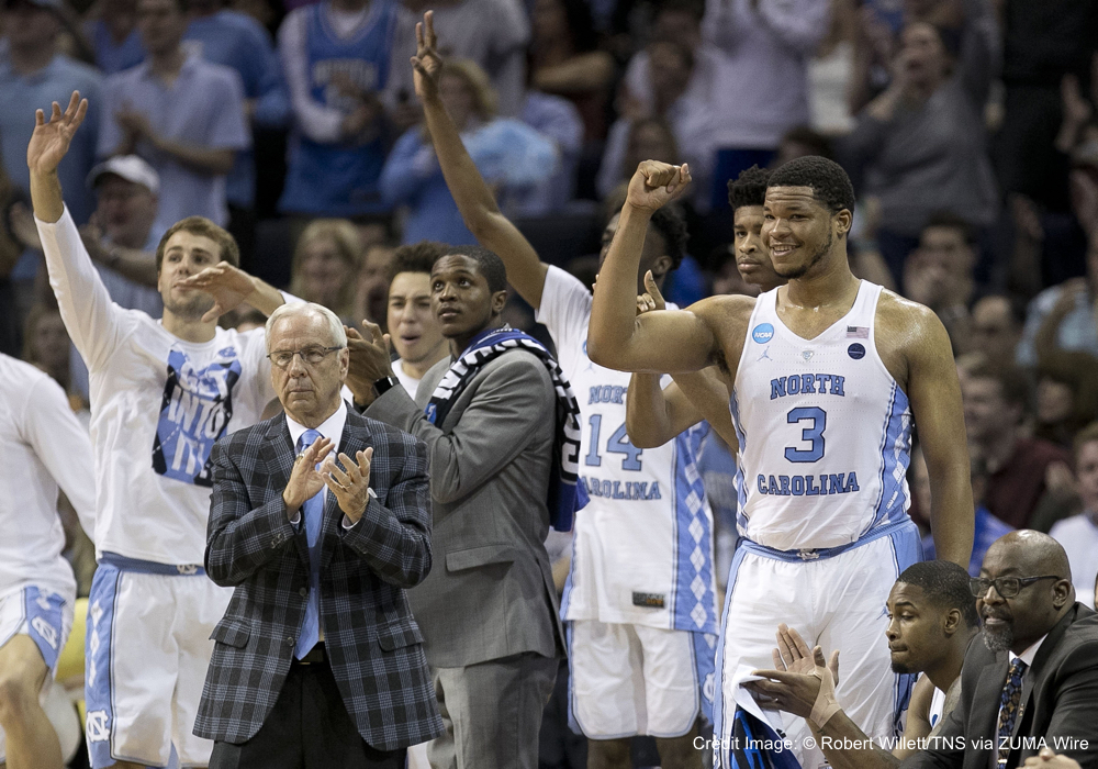 March 26, 2017 - Memphis, TN, USA - North Carolina coach Roy Williams and his bench react after opening a lead over Kentucky during the first half of the NCAA Tournament South Regional final on Sunday, March 26, 2017 at FedExForum in Memphis, Tenn. (Credit Image: � Robert Willett/TNS via ZUMA Wire)