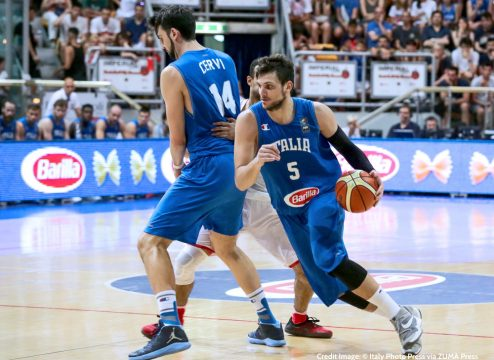 June 27, 2016 - Foto IPPAndrea Brintazzoli .Bologna 26062016.Basketball City Tournament  .Italia vs Canada .Nella Foto: Alessandro Gentile in palleggio dopo il blocco di Riccardo Cervi (Credit Image: � Italy Photo Press via ZUMA Press)