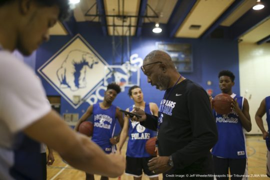 March 8, 2016 - Minneapolis, MN, U.S. - North head coach Larry McKenzie read an inspirational quote to his players before the start of practice Tuesday afternoon.    ]  JEFF WHEELER •     Minneapolis North Polars, a program synonymous with basketball excellence, is back in the state tournament for the first time since 2003. They practiced after school Tuesday afternoon, March 8, 2016 ahead of their tournament game on Thursday. (Credit Image: � Jeff Wheeler/Minneapolis Star Tribune via ZUMA Wire)