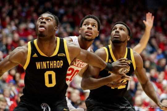 December 3rd, 2016: Winthrop Eagles center Duby Okeke (0) and Winthrop Eagles guard Xavier Cooks (12) box out Dayton Flyers forward Xeyrius Williams (20) during a free throw during NCAA basketball game action between the Winthrop Eagles and the Dayton Flyers at University of Dayton Arena, Dayton, OH. Photo by Adam Lacy/Cal Sport Media(Credit Image: © Adam Lacy/CSM via ZUMA Wire)