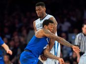 March 11, 2017 - New York, New York, U.S. - Creighton's guard Marcus Foster #0 takes a hard screen from Villanova's forward Darryl Reynolds #45 in the second half during the Big East Tournament Championship game at Madison Square Garden in New York City. The Villanova Wildcats defeated Creighton Bluejays 74-60. Duncan Williams/CSM(Credit Image: © Duncan Williams/CSM via ZUMA Wire)