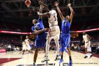 January 25, 2017 - Philadelphia, Pennsylvania, U.S - Temple Owls guard SHIZZ ALSTON JR. (3) passes out of a double team trap during the American Athletic Conference basketball game being played at the Liacouras Center in Philadelphia. Temple beat Memphis 77-66. (Credit Image: © Ken Inness via ZUMA Wire)