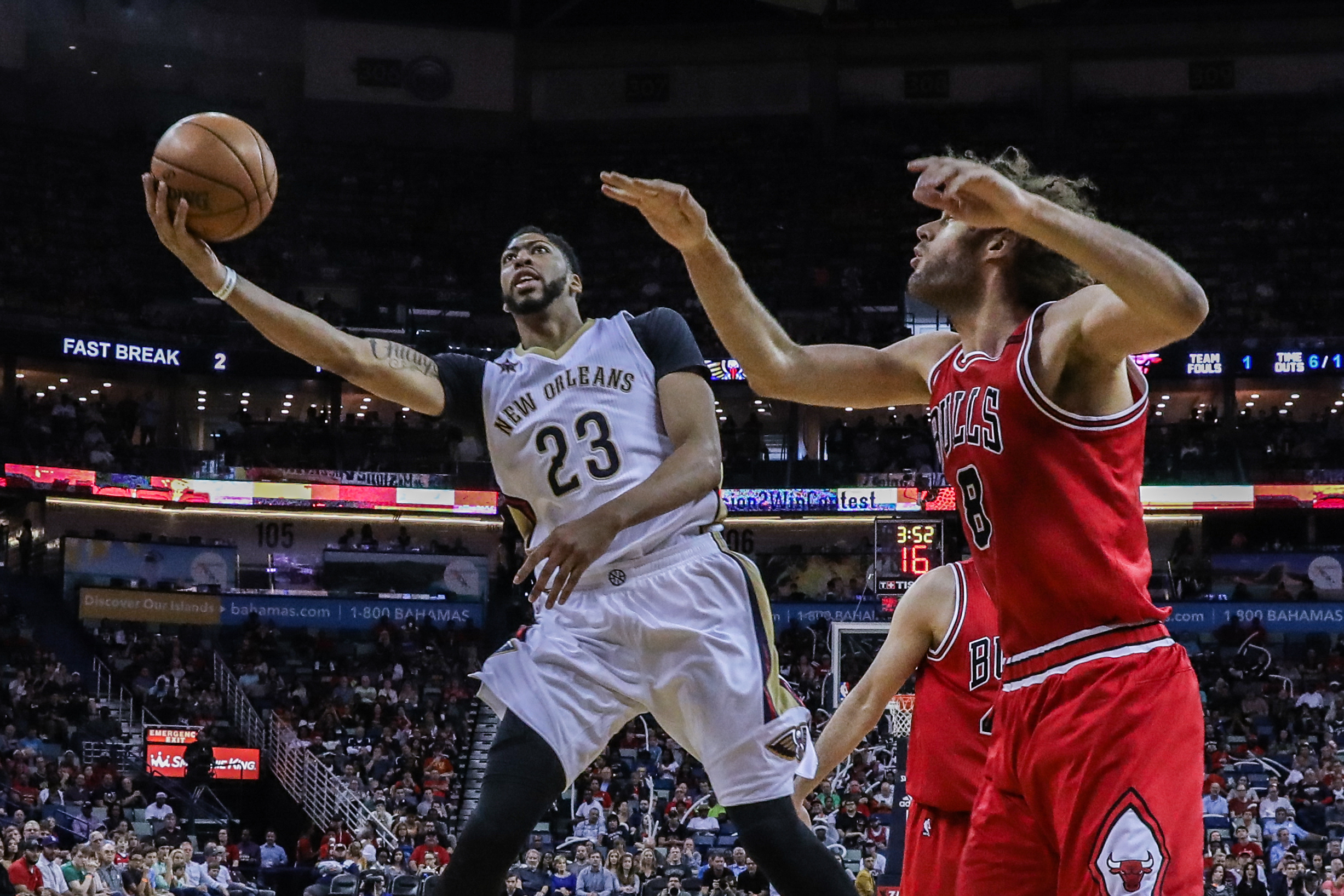 April 2, 2017 - New Orleans Pelicans forward Anthony Davis (23) drives to the basket against Chicago Bulls center Robin Lopez (8) during the game between the New Orleans Pelicans and the Chicago Bulls at the Smoothie King Center in New Orleans, LA. Stephen Lew/CSM(Credit Image: © Stephen Lew/CSM via ZUMA Wire)