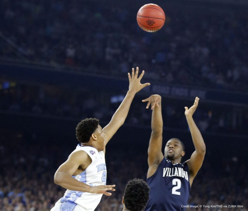 April 4, 2016 - Houston, TX, USA - Villanova's Kris Jenkins shoots the game-winning three-point basket over North Carolina on Monday, April 4, 2016, at NRG Stadium in Houston. (Credit Image: � Yong Kim/TNS via ZUMA Wire)