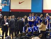 November 30, 2016 - Chicago, IL - The Drake University men's basketball staff and team gather during a timeout vs DePaul University in 2016.