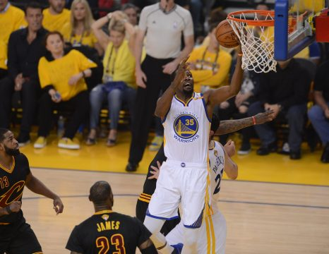 June 12, 2017 - Oakland, CA, USA - The Golden State Warriors' Kevin Durant (35) goes in for the basket against the Cleveland Cavaliers in the first quarter of Game 5 of the NBA Finals at Oracle Arena in Oakland, Calif., on Monday, June 12, 2017. (Credit Image: © Dan Honda/TNS via ZUMA Wire)