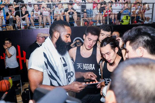August 10, 2017 - Hangzhou, Zhejiang, China - NBA star James Harden of Houston Rockets, left, instructs Chinese basketball players at a basketball event by Tmall of Alibaba Group during his China tour in Hangzhou city, east China's Zhejiang province, 10 August 2017. (Credit Image: © Imaginechina via ZUMA Press)