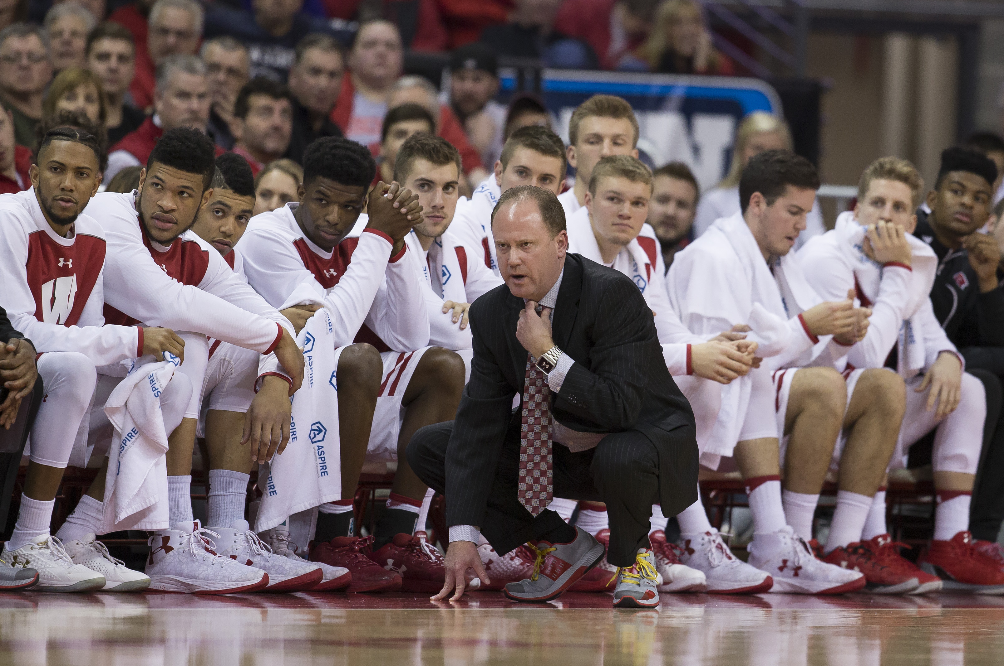 January 24, 2017: Wisconsin coach Greg Gard looks on during the NCAA Basketball game between the Wisconsin Badgers and the Penn State Nittany Lions at the Kohl Center in Madison, WI. Wisconsin defeated Penn State 82-55. John Fisher/CSM(Credit Image: © John Fisher/CSM via ZUMA Wire)