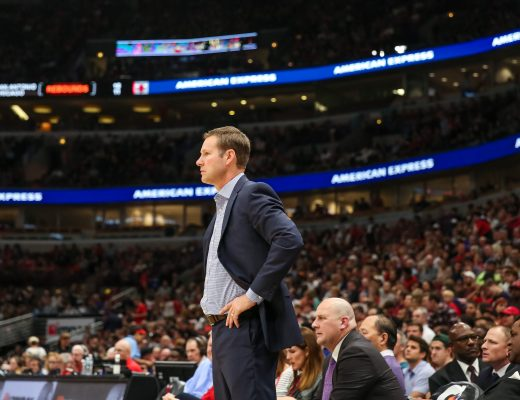 October 21, 2017 - Chicago, Illinois, U.S. -  Chicago Bulls head coach FRED HOIBERG looks on play during NBA Basketball game action between The Chicago Bulls and the San Antonio Spurs at the United Center in Chicago,IL.  (Credit Image: © Gary Duncan Sr/ZUMA Wire/ZUMAPRESS.com)