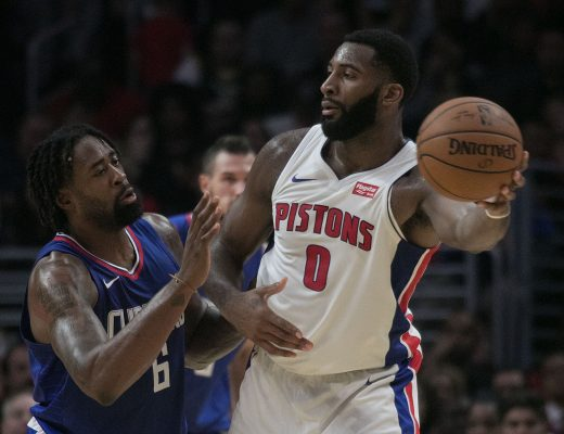 October 28, 2017 - Los Angeles, California, U.S - Andre Drummond #0 of the Detroit Pistons seeks to pass the ball during their NBA game with the Los Angeles Clippers on Saturday October 28, 2017 at the Staples Center in Los Angeles, California. Clippers lose to Pistons, 95-87. (Credit Image: © Prensa Internacional via ZUMA Wire)