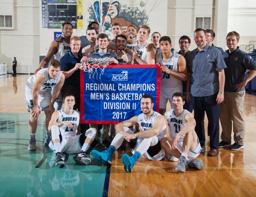 The BJU Bruins vs Trinity College in the men's basketball regional championship. Photo by Kayla Pierce 2017. Courtesy of Tony Miller