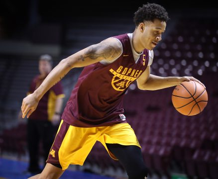 September 29, 2017 - Minneapolis, MN, U.S.A - Amir Coffey dribbles during a drill. ] LEILA NAVIDI • leila.navidi@startribune.com ....BACKGROUND INFORMATION: University of Minnesota mens basketball practice with new coach Richard Pitino at their first practice on Friday, September 29, 2017 at Williams Arena. ORG XMIT: MIN1709291622530139 (Credit Image: © Leila Navidi/Minneapolis Star Tribune via ZUMA Wire)