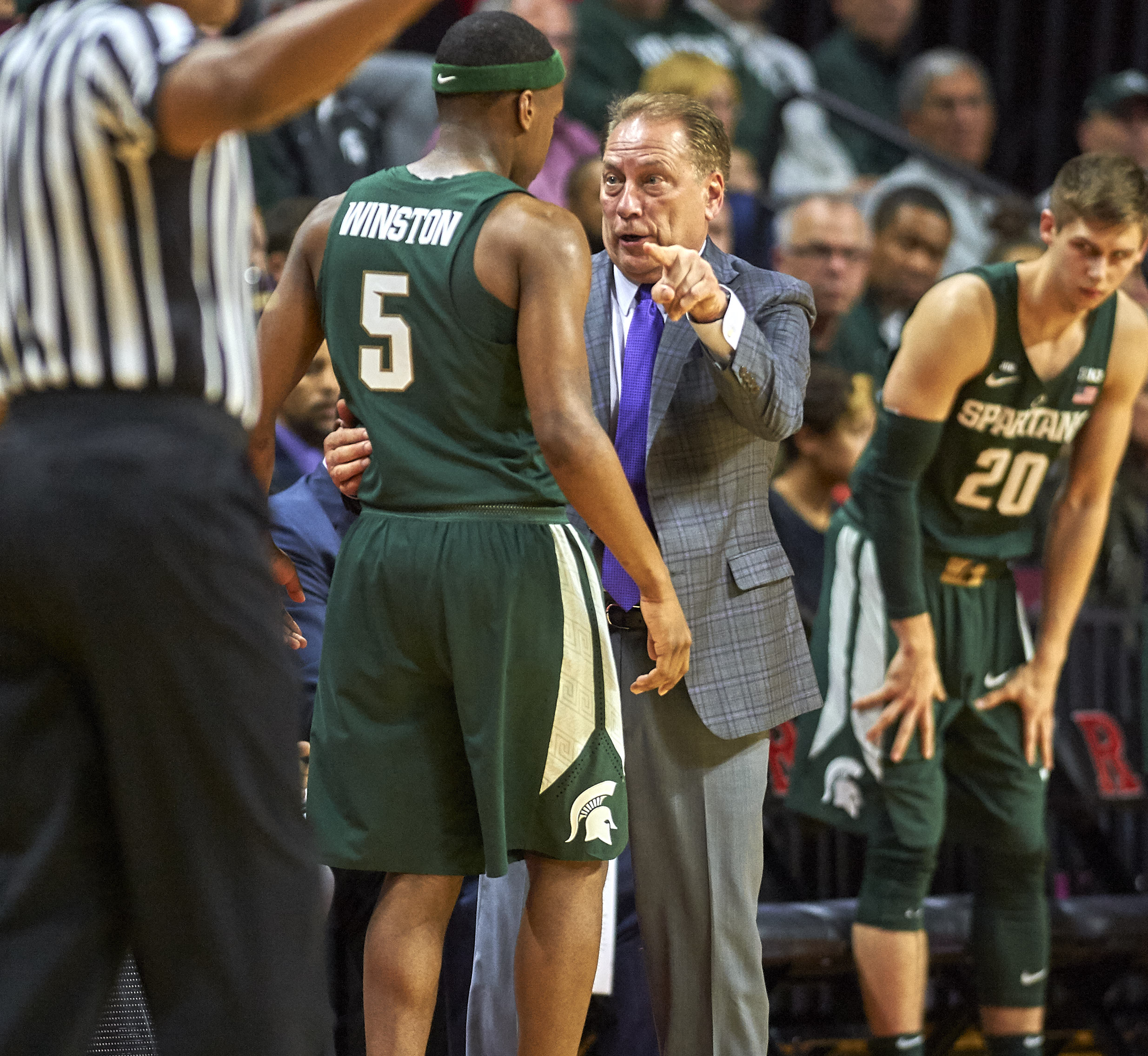 December 5, 2017 - Piscataway, New Jersey, U.S. - Michigan State's head coach Tom Izzo talks with guard Cassius Winston (5) during NCAA basketball action between the Michigan State Spartans and the Rutgers Scarlet Knights at Rutgers Athletic Center in Piscataway, New Jersey. Michigan State defeated Rutgers 62-52. Duncan Williams/CSM(Credit Image: © Duncan Williams/CSM via ZUMA Wire)