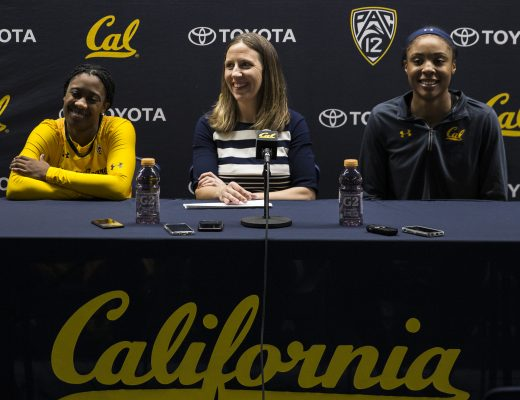 Dec 07 2017 Berkeley CA U.S.A. California head coach Lindsay Gottlie(C), guard Asha Thomas (L) and forward/center Kristine Anigwe (R) at the press conference celebrate her 200 career win after NCAA Women's Basketball game between San Diego Toreros and California Golden Bears 89-64 win at Hass Pavilion Berkeley Calif. Thurman James / CSM(Credit Image: © Thurman James/CSM via ZUMA Wire)