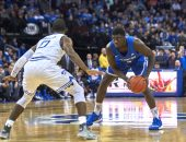 December 29, 2017 - Newark, New Jersey, U.S. - Creighton's guard Khyri Thomas (2) looks to make a play as Seton Hall's guard Khadeen Carrington (00) defends in the first half during NCAA action between the Seton Hall Pirates and the Creighton Bluejays at the Prudential Center in Newark, New Jersey. Seton Hall defeated Creighton 90-84. Duncan Williams/CSM(Credit Image: © Duncan Williams/CSM via ZUMA Wire)