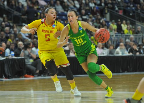 March 25, 2017: Lexi Bando (10) of the Oregon Ducks looks to get past Maryland defender Destiny Slocum (5) during the NCAA Regional Semi-Final game at the Webster Bank Arena in Bridgeport, CT. Gregory Vasil/CSM(Credit Image: © Gregory Vasil/CSM via ZUMA Wire)