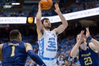 February 12, 2018: North Carolina Tar Heels forward Luke Maye (32) goes for the layup in the NCAA basketball matchup at Dean Smith Center in Chapel Hill, NC. (Scott Kinser/Cal Sport Media)(Credit Image: © Scott Kinser/CSM via ZUMA Wire)