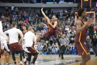 March 15, 2018 - Dallas, TX, U.S. - DALLAS, TX - MARCH 15: Loyola-Chicago Ramblers players celebrate winning the NCAA Div I Men's Championship First Round basketball game between Loyola of Chicago and Miami on March 15, 2018 at American Airlines Center in Dallas, TX. (Photo by George Walker/Icon Sportswire) (Credit Image: © George Walker/Icon SMI via ZUMA Press)