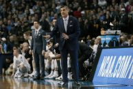 March 25, 2018 - Boston, MA, U.S. - BOSTON, MA - MARCH 25: Villanove head coach Jay Wright during an Elite Eight matchup between the Villanova Wildcats and the Texas Tech Red Raiders on March 25, 2018, at TD Garden in Boston, Massachusetts. The Wildcats defeated the Red Raiders 71-59. (Photo by Fred Kfoury III/Icon Sportswire) (Credit Image: © Fred Kfoury Iii/Icon SMI via ZUMA Press)
