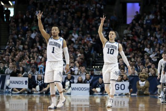 March 25, 2018 - Boston, MA, U.S. - BOSTON, MA - MARCH 25: Villanova guard Jalen Brunson (1) and Villanova guard Donte DiVincenzo (10) signal the play during an Elite Eight matchup between the Villanova Wildcats and the Texas Tech Red Raiders on March 25, 2018, at TD Garden in Boston, Massachusetts. The Wildcats defeated the Red Raiders 71-59. (Photo by Fred Kfoury III/Icon Sportswire) (Credit Image: © Fred Kfoury Iii/Icon SMI via ZUMA Press)