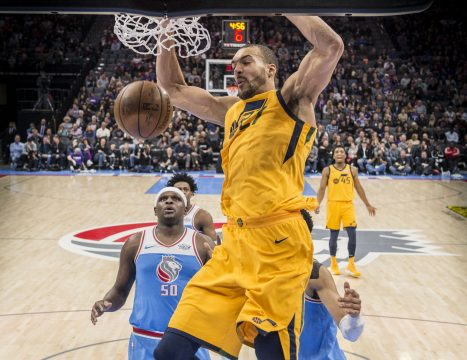 March 3, 2018 - Sacramento, CA, USA - Utah Jazz center Rudy Gobert dunks against the Sacramento Kings at the Golden 1 Center in Sacramento, Calif., on Saturday, March 3, 2018. The Jazz won, 98-91. (Credit Image: © Hector Amezcua/TNS via ZUMA Wire)