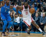 March 6, 2018 - Oklahoma City, OK, U.S. - OKLAHOMA Oklahoma City, OK - MARCH 06: Houston Rockets Guard James Harden (13) making his move towards the basket while Oklahoma City Thunder Forward Carmelo Anthony (7) plays defense on March 06, 2018 at Chesapeake Energy Arena in Oklahoma City, OK.(Photo by Torrey Purvey/Icon Sportswire) (Credit Image: © Torrey Purvey/Icon SMI via ZUMA Press)