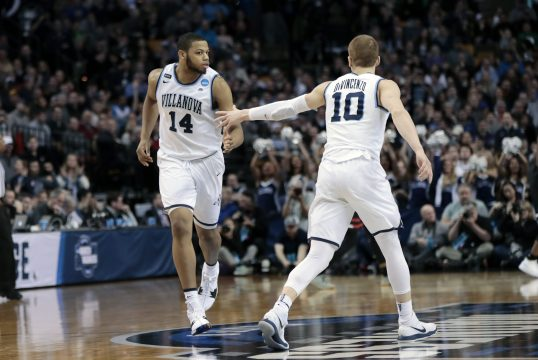 March 25, 2018 - Boston, MA, U.S. - BOSTON, MA - MARCH 25: Villanova guard Donte DiVincenzo (10) congratulates Villanova forward Omari Spellman (14) after a shot during an Elite Eight matchup between the Villanova Wildcats and the Texas Tech Red Raiders on March 25, 2018, at TD Garden in Boston, Massachusetts. The Wildcats defeated the Red Raiders 71-59. (Photo by Fred Kfoury III/Icon Sportswire) (Credit Image: © Fred Kfoury Iii/Icon SMI via ZUMA Press)