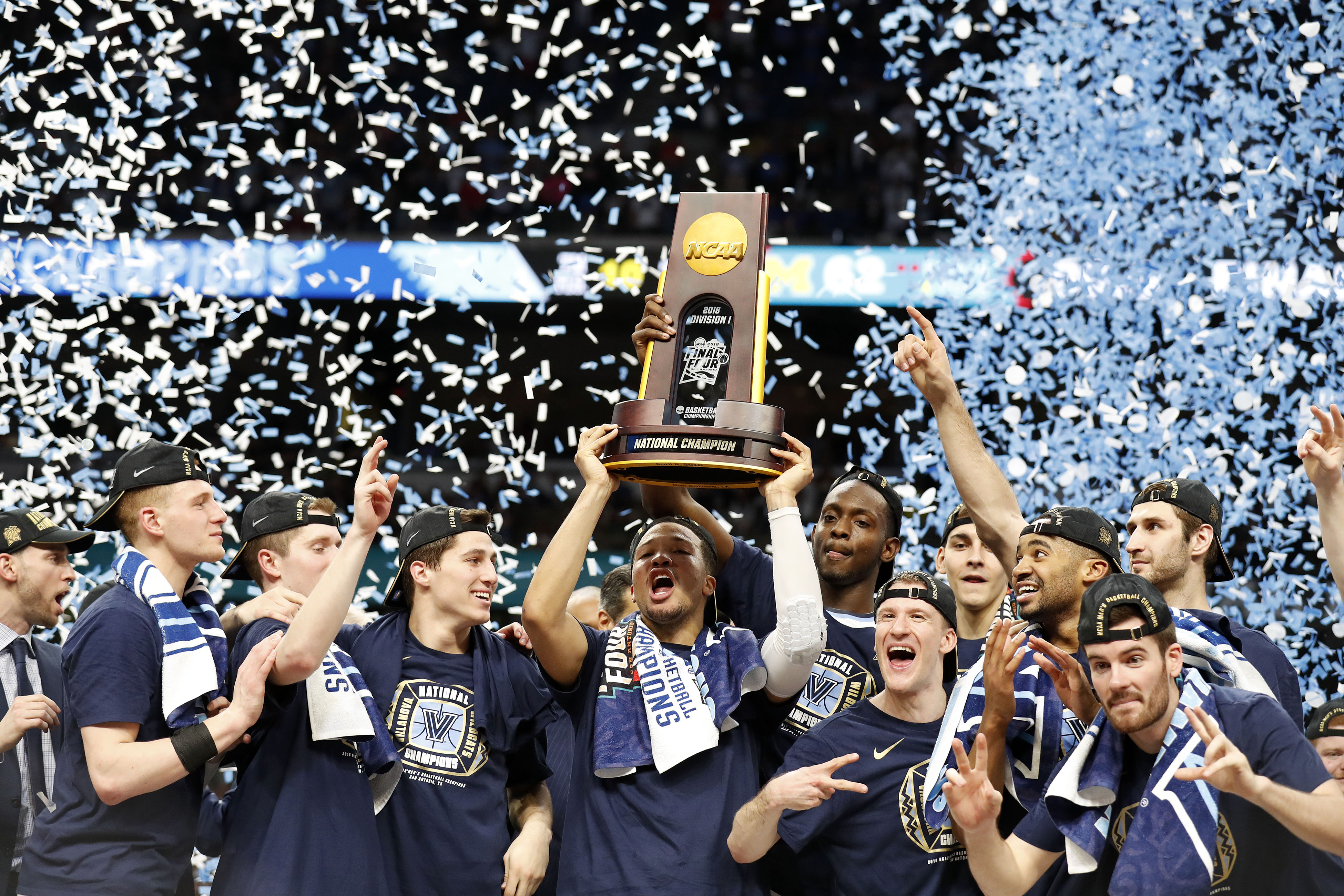 April 2, 2018 - San Antonio, TEXAS, USA - The Villanova Wildcats celebrate after their NCAA Division I Men's National Championship Basketball game against the Michigan Wolverines held Monday April 2, 2018 at the Alamodome. Villanova Wildcats won 79-62. (Credit Image: © Edward A. Ornelas/San Antonio Express-News via ZUMA Wire)