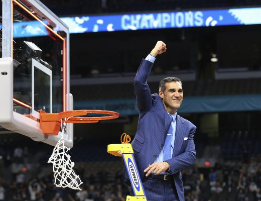 April 2, 2018 - San Antonio, Texas, USA - Villanova head basketball coach Jay Wright celebrates during the net-cutting ceremony after defeating Michigan in the NCAA National Championship basketball game of the NCAA Final Four tournament at the Alamodome on Monday, Apr. 2, 2018. The Wildcats defeated the Wolverines, 79-62, to win their third overall national title and the second in three years. (Credit Image: © Kin Man Hui/San Antonio Express-News via ZUMA Wire)