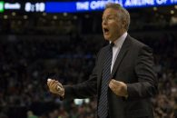 February 16, 2017 - Boston, Estados Unidos - Philadelphia 76ers coach Brett Brown reacts to a play during the first half of their game against the Boston Celtics at TD Banknorth Garden in Boston, USA, 15 February, 2017. (Credit Image: © Lisa Hornak/EFE via ZUMA Press)