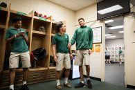 March 22, 2017 - Florida, U.S. - LOREN ELLIOTT | Times .Kevin Knox jokes with Tampa Catholic teammate Ben Tlee in the locker room before an assembly honoring Knox as the Florida Dairy Farmers' ''Mr. Basketball,'' an award given to the stateÕs top player regardless of classification, at Tampa Catholic High School in Tampa, Fla., on Wednesday, March 22, 2017. (Credit Image: © Loren Elliott/Tampa Bay Times via ZUMA Wire)