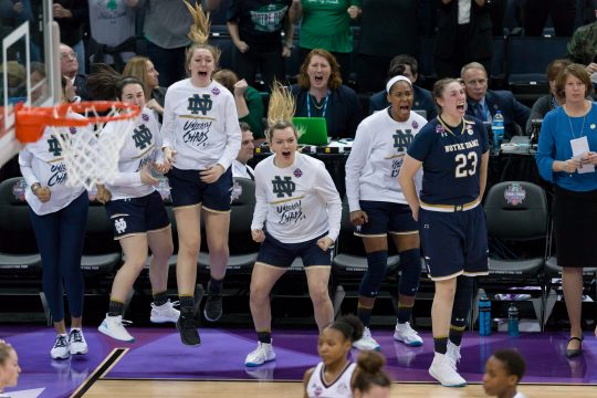 April 1, 2018 - Columbus, OH, U.S. - COLUMBUS, OH - APRIL 01: The Notre Dame Fighting Irish bench reacts in the National Championship game between the Mississippi State Lady Bulldogs and the Notre Dame Fighting Irish on April 1, 2018 at Nationwide Arena. Notre Dame won 61-58. (Photo by Adam Lacy/Icon Sportswire) (Credit Image: © Adam Lacy/Icon SMI via ZUMA Press)