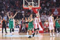 ATHENS, April 19, 2018  Kevin Pangos (C) of Zalgiris Kaunas celebrates victory after the first playoff of the basketball Euroleague between Olympiacos Piraeus and Zalgiris Kaunas at the Peace and Friendship Stadium in Athens, Greece, on April 18, 2018. (Credit Image: © Lefteris Partsalis/Xinhua via ZUMA Wire)
