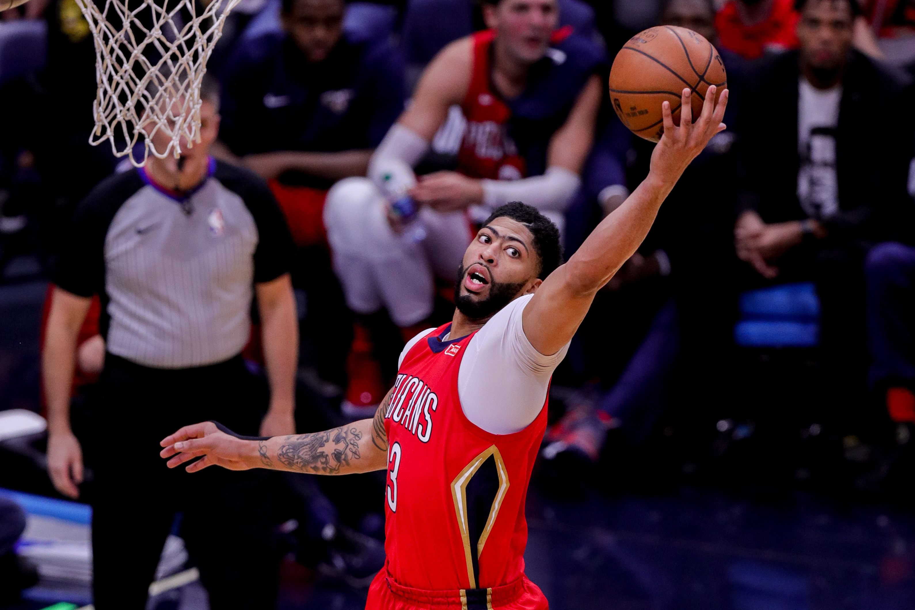 May 04, 2018: New Orleans Pelicans forward Anthony Davis (23) secure aa rebound against Golden State Warriors at the Smoothie King Center in New Orleans, LA. Stephen Lew/CSM(Credit Image: © Stephen Lew/CSM via ZUMA Wire)