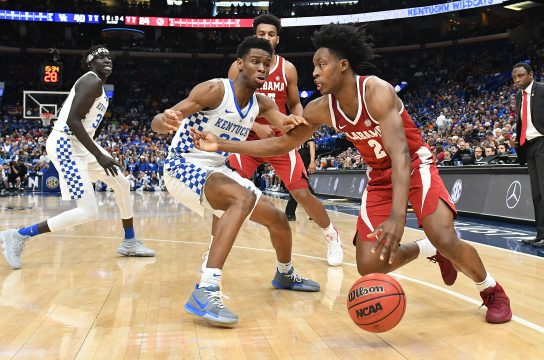 March 10, 2018 - St. Louis, Missouri, U.S. - ST.  LOUIS, MO - MARCH 10: Alabama guard Collin Sexton (2) drives the baseline around Kentucky guard Shal Gilgeous-Alexander (22) during a Southeastern Conference Basketball Tournament game between the Kentucky Wildcats and the Alabama Crimson Tide on March 10, 2018, at Scottrade Center, St. Louis, MO. Kentucky won, 86-63. (Photo by Keith Gillett/Icon Sportswire) (Credit Image: © Keith Gillett/Icon SMI via ZUMA Press)