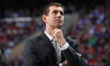 PHILADELPHIA, PA - MAY 5: Head Coach Brad Stevens of the Boston Celtics looks on during the game against the Philadelphia 76ers in Game Three of Round Two of the 2018 NBA Playoffs on May 5, 2018 at Wells Fargo Center in Philadelphia, Pennsylvania. NOTE TO USER: User expressly acknowledges and agrees that, by downloading and or using this Photograph, user is consenting to the terms and conditions of the Getty Images License Agreement. Mandatory Copyright Notice: Copyright 2018 NBAE (Photo by Brian Babineau/NBAE via Getty Images)