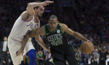 PHILADELPHIA, PA - MAY 5: Al Horford #42 of the Boston Celtics drives to the basket against Dario Saric #9 of the Philadelphia 76ers in the second quarter during Game Three of the Eastern Conference Second Round of the 2018 NBA Playoff at Wells Fargo Center on May 5, 2018 in Philadelphia, Pennsylvania. The Celtics defeated the 76ers 101-98. NOTE TO USER: User expressly acknowledges and agrees that, by downloading and or using this photograph, User is consenting to the terms and conditions of the Getty Images License Agreement. (Photo by Mitchell Leff/Getty Images)