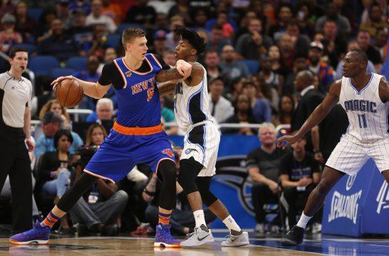 March 6, 2017 - Orlando, FL, USA - New York Knicks forward Kristaps Porzingis (6) is guarded by Orlando Magic guard Elfrid Payton (4) on Monday, March 6, 2017 at Amway Center in Orlando, Fla. (Credit Image: © Ricardo Ramirez Buxeda/TNS via ZUMA Wire)