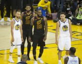 May 31, 2018 - Oakland, California, U.S - LeBron James #23 and Tristan Thompson #13 of the  Cleveland  Cavaliers with Stephen Curry #30 and Klay  Thompson #11 of the Golden State Warriors during their  NBA Championship Game 1 at Oracle Arena in Oakland,  California on Thursday,  May 31, 2018. ARMANDO  ARORIZO/PI (Credit Image: © Prensa Internacional via ZUMA Wire)